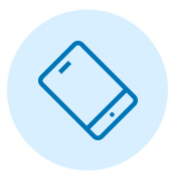 Blue smartphone outline graphic icon