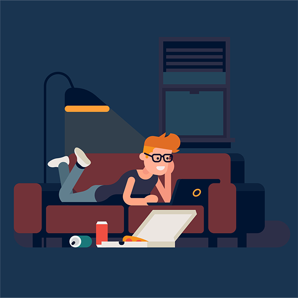An illustration of a person using a computer on a sofa whilst a burglar looks through the window