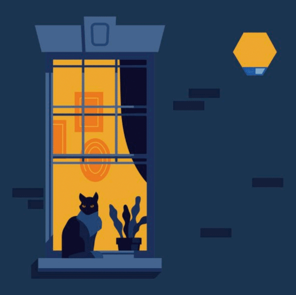 An illustration of a cat sitting on a dark window ledge with a light behind and an ADT bell box