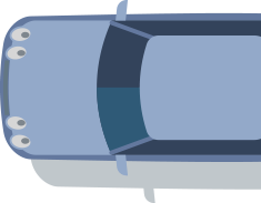 Illustrated top down view of a blue car