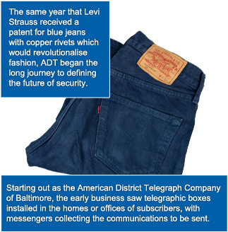 ADT began the long journey the same year that Levi Strauss received a patent for blue jeans with copper rivets