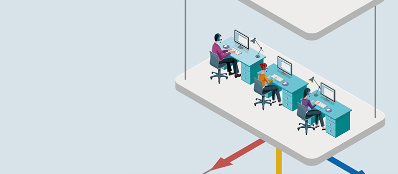 Illustration of workers wearing headsets at their desks medium
