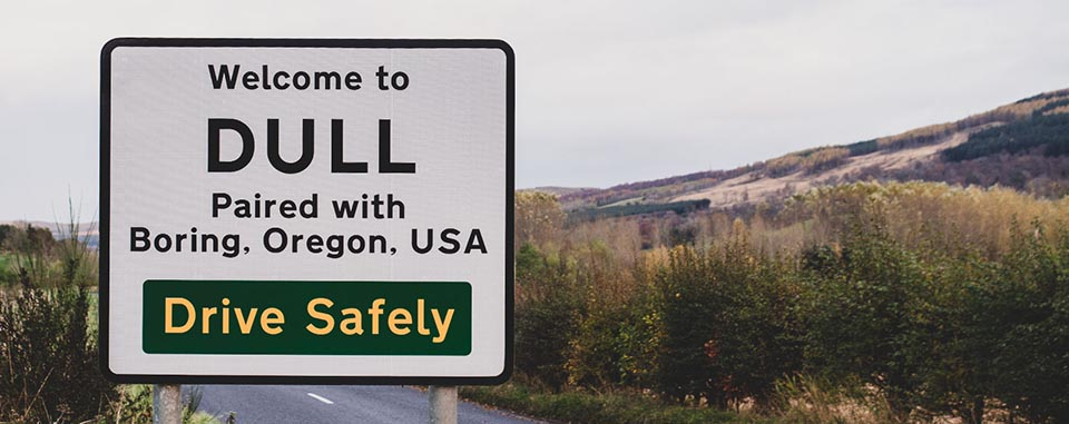 Road sign that says 'Welcome to Dull'