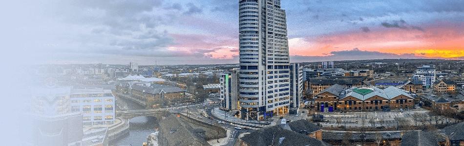 Ariel view of Leeds Dock area