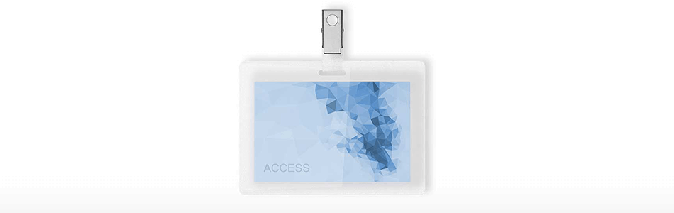 Blue and white access card on a white background small
