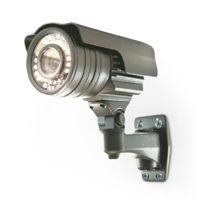 ADT silver security camera on white background