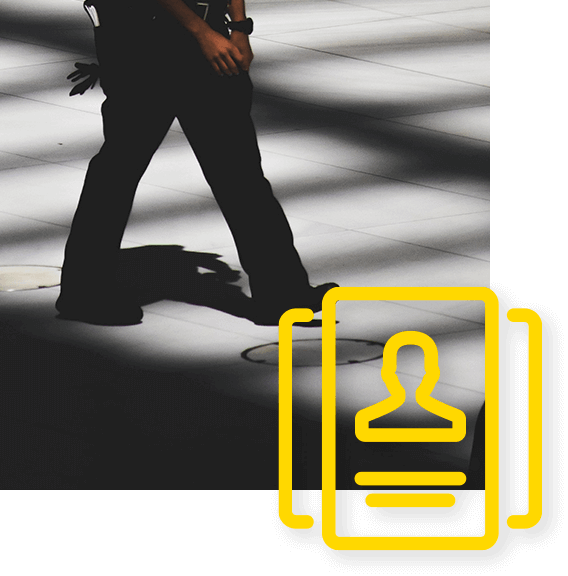 Private security response icon in front of a photo of a security guard walking