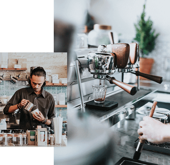A photo of coffee shop machinery alongside a photo of barista making coffee