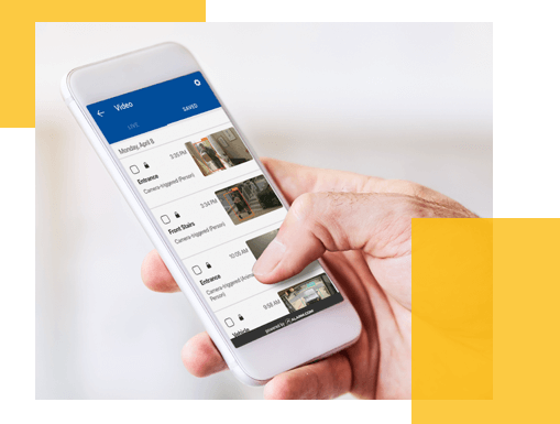 ADT app, showing what a properties' CCTV cameras can see