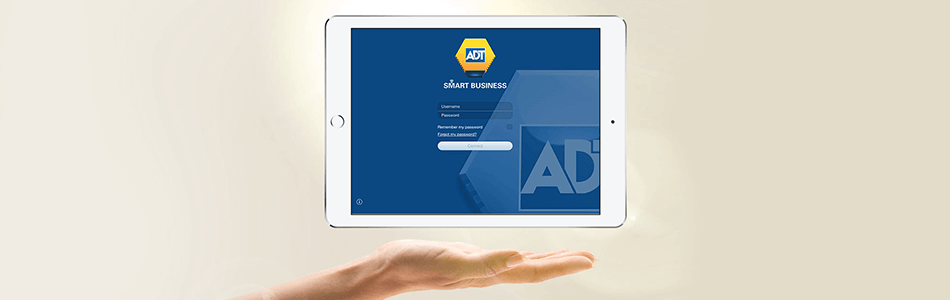 ADT Smart Business app on an iPad mobile