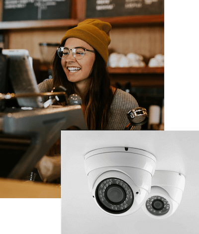 Woman working and a photo of two ADT CCTV cameras