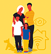 Colour block icon of family in front of dog, house and eye symbols